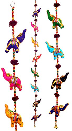 Tribe Azure Fair Trade 5 Elephant Bell Hanging, Door Wall Living Room Bedroom Decor Art Decorative Colorful Animal Boho Hippie Gypsy Chime Ethnic -