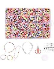 Kinderen DIY kralen set - armband kralen kunst en sieraden maken, kettingen kralen string maken kit, 24 verschillende soorten en vormen armbanden Art Craft Kit als kralen cadeau kit voor meisjes kinderen