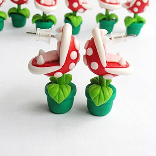 Joly Pure Silver Flower Studs Super Mario Piranha Handcrafted Polymer Clay Earrings 1 Pair