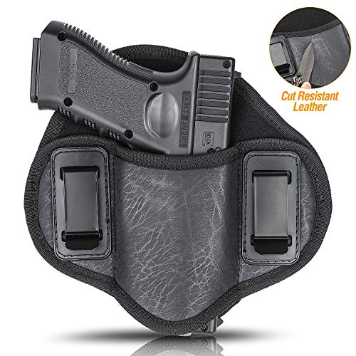 Concealed Carry Holster Ultra Soft Comfortable ECO Leather IWB Inside Waistband Holster for Glock 19 23 32 26 27 33 30, S&W M&P Shield 9mm, Sig, Sprinfield, Taurus, Beretta Ruger, H&K, XDM (Right)
