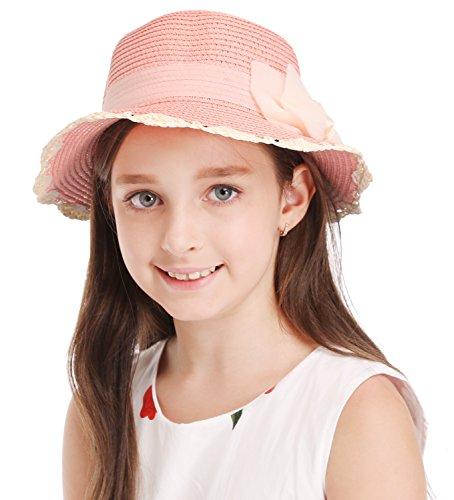 Bienvenu Kids Summer Wide Brim Floppy Beach Sun Hat With Lace Bowknot For Girls