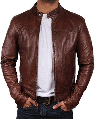Brandslock Mens Biker Leather Bomber Jacket Coat Designer (M(fits Chest 36-38 inches), Brown) (Genuine Leather Jacket Coat)