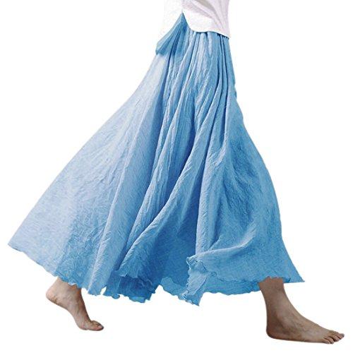Nlife Jupe maxi pour femme en coton et lin double paisseur Taille lastique Jupe longue Bleu Ciel
