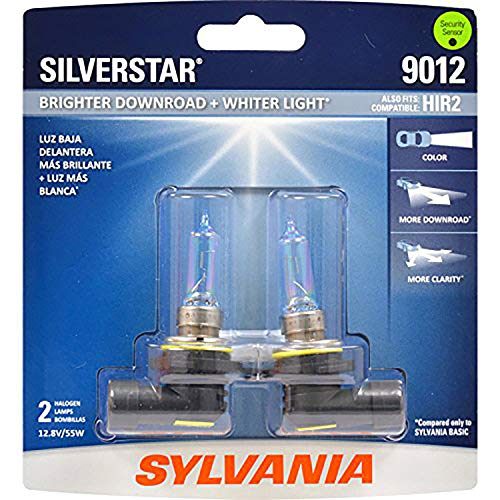 (SYLVANIA - 9012 SilverStar - High Performance Halogen Headlight Bulb, High Beam, Low Beam and Fog Replacement Bulb, Brighter Downroad with Whiter Light (Contains 2 Bulbs))