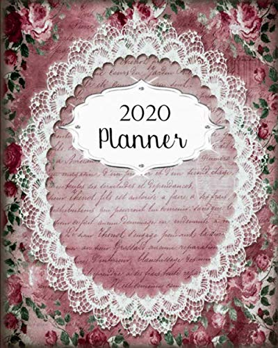 2020 Planner: Vintage Daily, Weekly & Monthly Calendars | January through December | #20 Pink Lace | Floral Flowers | - Antique Calendar Floral Desk Monthly