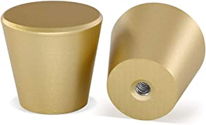10 Pack Brushed Brass Cabinet Knobs Gold Dresser Knobs-homdiy LS745GD Solid Round Drawer Knobs Gold Knobs for Dresser Drawers Gold Kitchen Cabinet Hardware