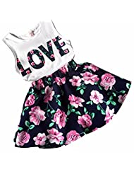 Changeshopping Kids Girls Love Letters Printed Sleeveless Vest Floral Skirt Clothes