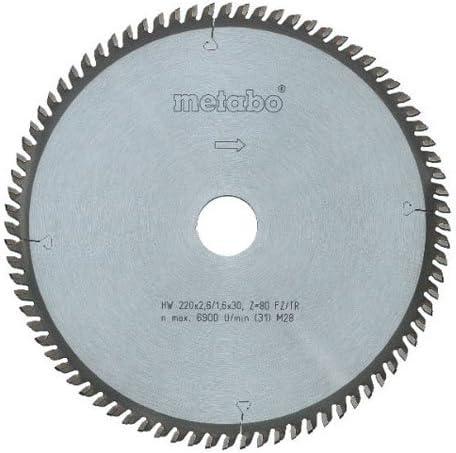 216x30 Metabo 628083000 628083000-Hoja de Sierra Metal Duro HW//CT Precision Cut 216 x 30 mm Dientes 83 FZ//TZ