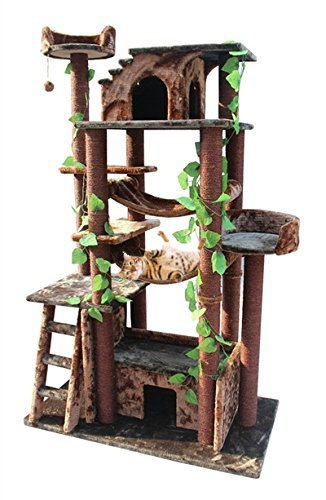 Extra Large Cat Tower Tree Cats Activity Center, Green/Brown by CozyCatFurniture