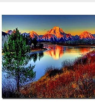 MSCLY Diy Pintado A Mano Dibujo Para Colorear Por Números Imagen Digital Lago Y Montañas Paisaje Pintura Moderna Por Números Kits: Amazon.es: Hogar
