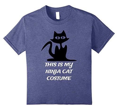 Ninja Cat Costume (Kids Funny Cat Costume Shirt - This is My Ninja Cat Costume 8 Heather Blue)