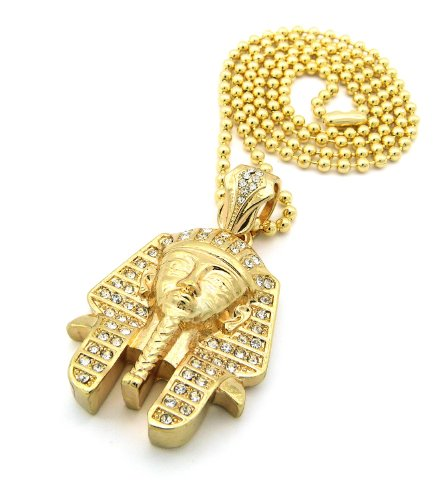 """New Iced Out KING-TUT PHARAOH Pendant &3mm/27"""" Ball Chain Hip Hop Necklace BXZ78G"""