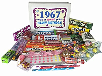 1967 50th Birthday Gift Basket Box Retro Nostalgic Candy From Childhood Jr. by Woodstock Candy