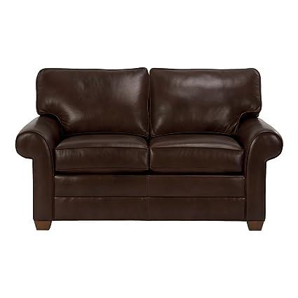 Merveilleux Ethan Allen Bennett Roll Arm Leather Sofa, 63u0026quot; Loveseat, Omni Brown Top