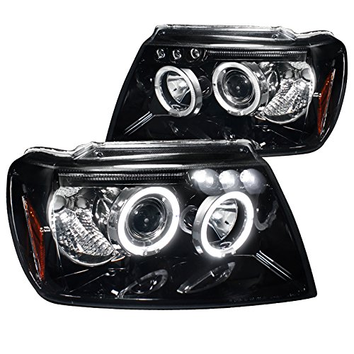 Spec-D Tuning 2LHP-GKEE99G-TM Jeep Grand Cherokee Glossy Black Projector Head Lights 2000 Grand Cherokee Headlights