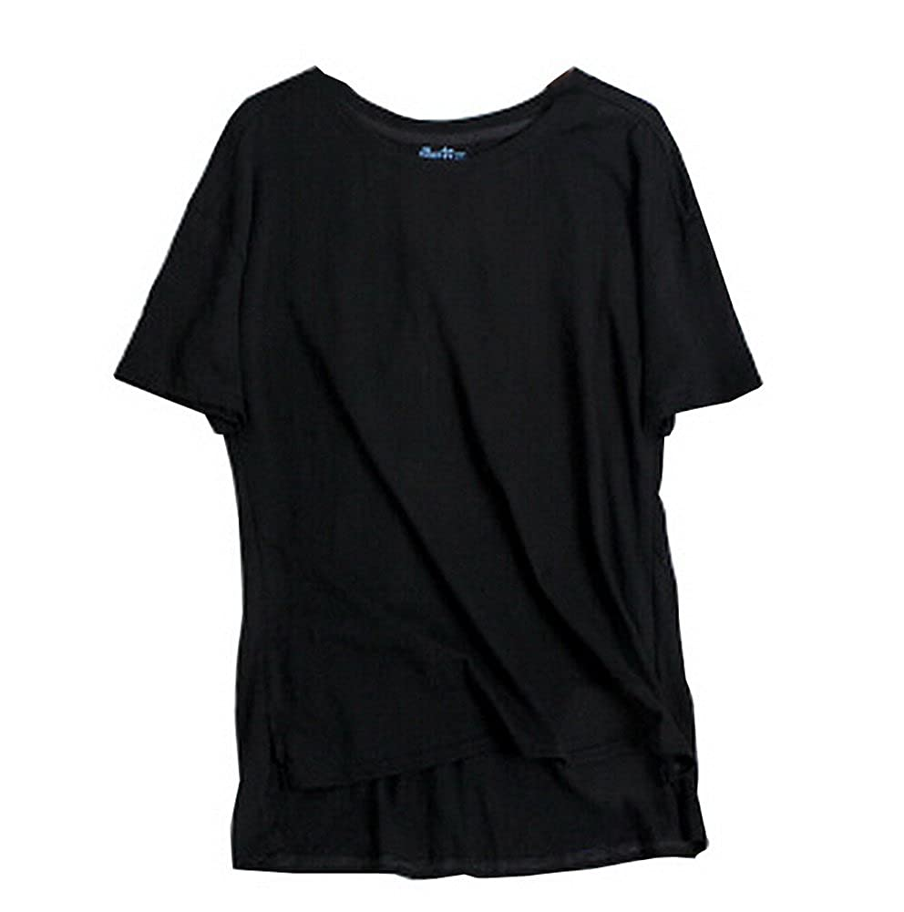 T-Shirt Women's T-Shirt Comfy Short Sleeve Lightweight Top Tee [Black] BC-CLO1046580-IRENE00659