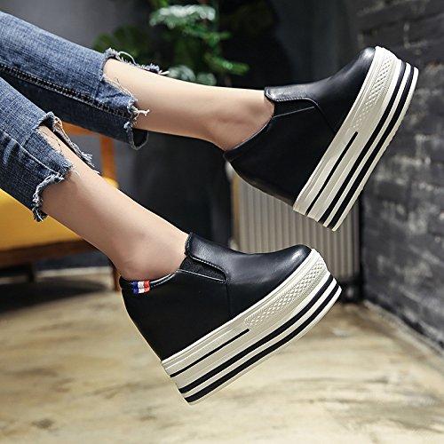 Alto Solo GTVERNH De Otoño Un black Hembra Tacon Zapatos 11 Zapatos Aumentado En Pedal Zapatos Gruesas Suelas 13Cm Lazy Zapatos F1Rwqr1a0