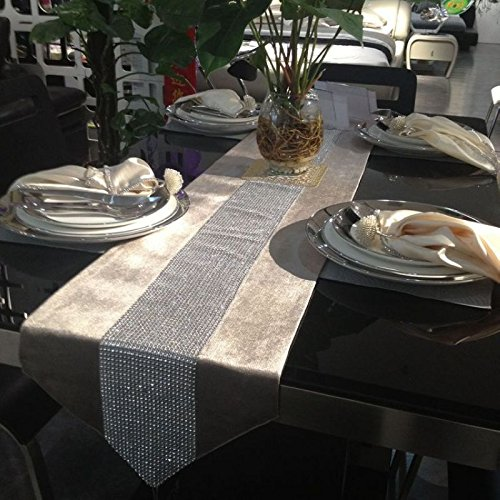 Rainbow Korea velvet high-grade drill vertical drilling continental table runner tablecloth-Europe-South Korea , grey Christmas Halloween decorations-YU&XIN]()