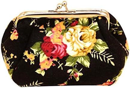 Retro Flower Buckle Coin Purses Vintage Pouch Kiss-Lock Change Purse Wallets