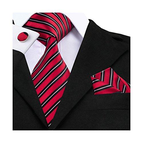 DiBanGu Men's Red Necktie Silk Stripe Tie Cufflink Handkerchief Set Red Black Tie (Necktie Stripes Set Cufflinks)