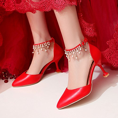 red grandes huecos Zapatos sandalias boda talón de para femenino alto bridal f4fYvq