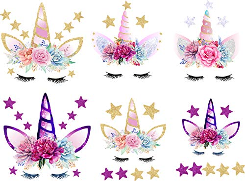 Unicorn Iron On Patch Iron-on Heat Transfer Patches And Flowers&Stars Eco-Friendly Material Set of 6 DIY Decorative