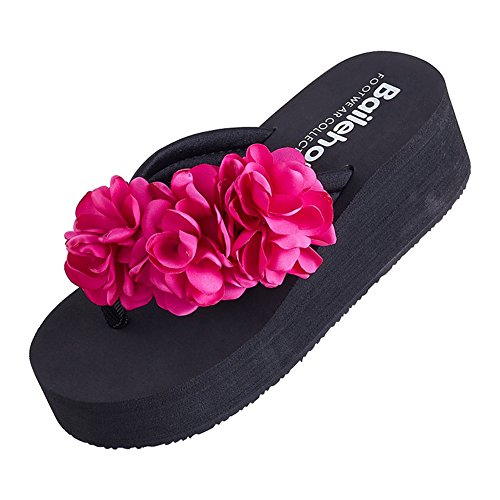 Zeppe NVXIE Sandali di pantofole spiaggia 3 fiori sandali leader Rose Beauty sabbia flessuoso Red slittata 5cm lanciare 001Aqr