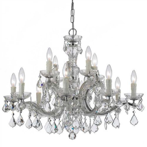Crystorama 4379-CH-CL-MWP Crystal 12 Light Chandelier from Maria Theresa collection in Chrome, Pol. - Maria Theresa Light Twelve