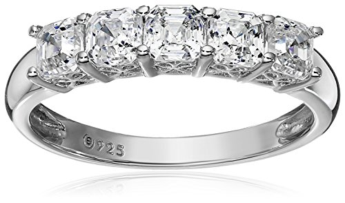 Platinum or Gold Plated Sterling Silver Asscher-Cut 5-Stone Ring made with Swarovski Zirconia, Size 9