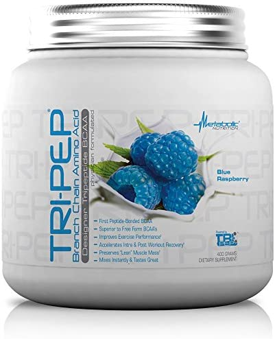 Metabolic Nutrition, TRIPEP, Tri-Peptide Branch Chain Amino Acid, BCAA Powder, Pre Intra Post Workout Supplement, Blue Raspberry, 400 grams 40 servings