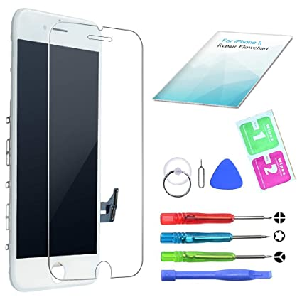 QI-EUU Ersatz Kompatibel mit iPhone 6 Display LCD Touchscreen Digitizer Bildschirm Front Komplettes Glas Retina Display mit Werkzeuge Schwarz