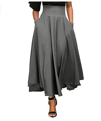 Damen Elastische Taille Ausgestellt Vintage A-Linie Lang Lose Röcke