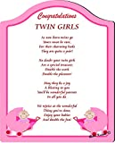 Rikki Knight Congratulations on your twin girls Touching 5x7 Poem with Full Color Graphics - Professionally Printed onto Chromaluxe Arch Panel with Easel Back