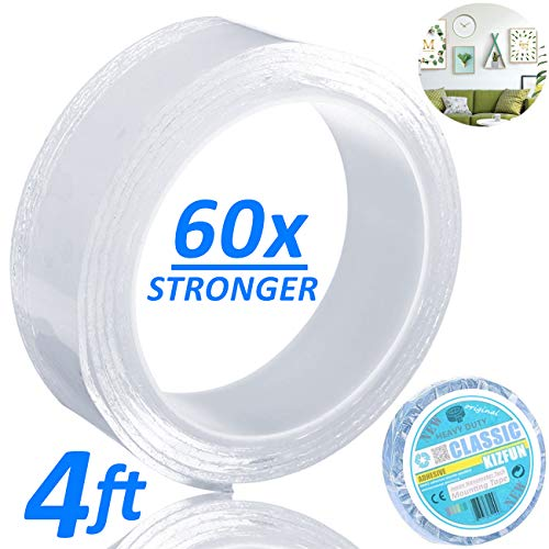 (Double Sided Clear Adhesive Tape Removable Two Sided Stick Washable Reusable Heavy Duty Mounting Transparent Tape Gripper for Carpet/Kitchen Rugs/Home Wall Decor/Bathroom/Office/RV Repair (4ft))