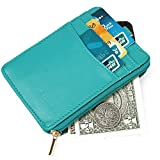 Small thin wallets for women Slim Card Holder Leather Minimalist Front Pocket Wallet Womens small card holder Credit card holder with zipper Card holder with id window