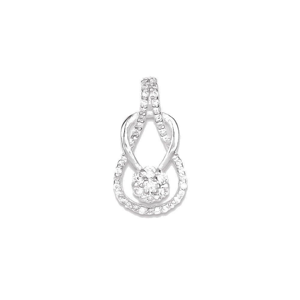 Goldia Sterling Silver CZ /& Teardrop Pendant