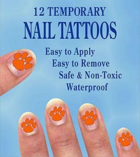 Price comparison product image Clemson Tigers Finger Nail Decals Temp Tattoos Set of 12 NCAA Licensed