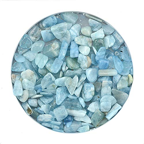 ZUINIUBI Aquamarine Tumbled Chips Betta Pebbles Small Polished Stones Healing Reiki Crystal Rocks for Jewelry Craft Making Fish Turtle Tank Succulents Home Decoration 0.3-0.5inch