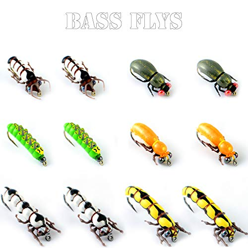 (YAZHIDA Fly Fishing Kit-Pack 1/3/9/12pcs of Handmade Fly Fishing Lures Kit-3D Laser Compound Eyes-Food-Grade Silicone Body Flies-Eco-Friendly Packaging-High Simulation Fly Fishing Dry Flies (grub))
