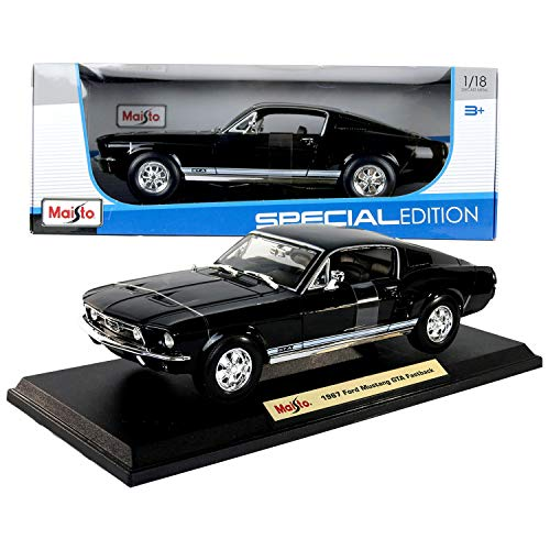 Mustang Fastback Coupe - Maisto Special Edition Series 1:18 Scale Die Cast Car - Black Color Classic Coupe 1967 Ford Mustang GTA Fastback w/Display Base (Dimension: 10