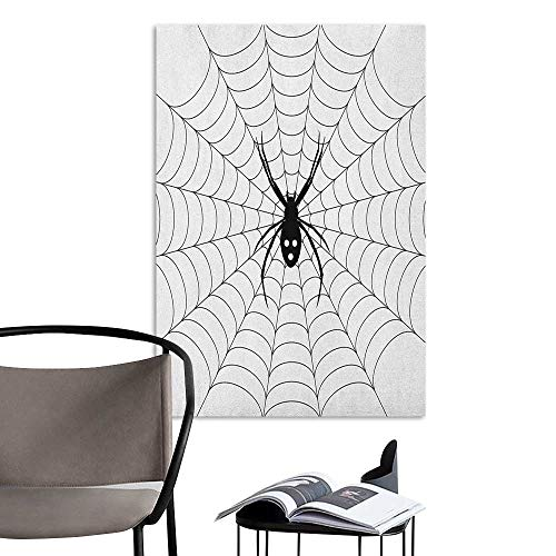 (Jaydevn Art Decor 3D Wall Mural Wallpaper Stickers Spider Web Poisonous Bug Venom Thread Circular Cobweb Arachnid Cartoon Halloween Icon Black White TV Backdrop Wall W16 x)