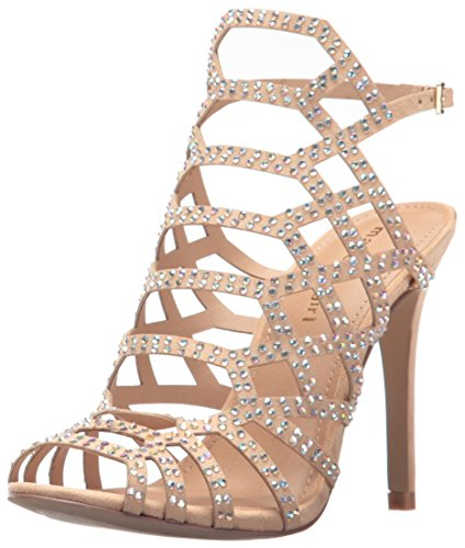 Rhinestone Sandal Footwear Sandals (Madden Girl Women's Direct-R Heeled Sandal, Nude Fabric, 7.5 M US)