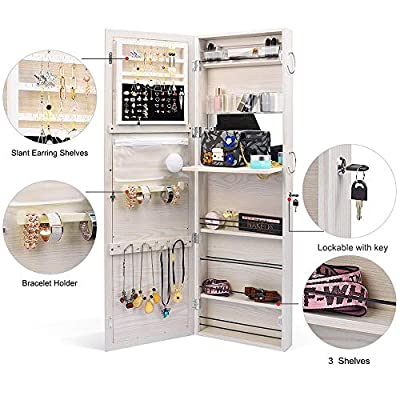 TWING Jewelry Cabinet Wall Door Mounted Lockable Jewelry Armoire Organizer with Full-Length Mirror White