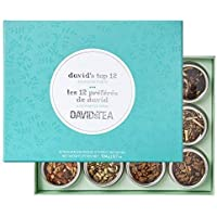 DAVIDsTEA David's Top 12 Tea Sampler, Premium Assortment of 12 Tins of Loose Leaf Tea Makes 2 Cups Each, 104 g