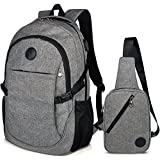 School Backpacks,College Laptop Backpack Fits 15.6 Inch Laptop with Sling Bag by Eastern Time(2007,2008grey)