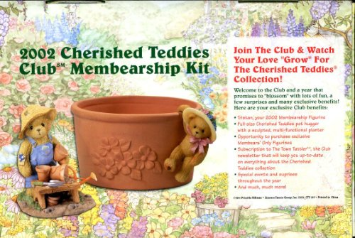 Cherished Teddies - 2002 Club Membearship Kit with Tristan #CT008, Flower Pot, and Hanging Girl Bear Figurine - by ENESCO - Figurine Bear Cherished Teddies