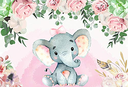 (Baby Shower 5x3ft Background Baby Girl Shower Party Gift Baby Elephant Dessert Table Backdrop Pink Roses Around Design W-1540 )