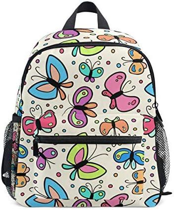 漫画かわいい蝶幼児バックパックブックバッグミニショルダーバッグ1-6年旅行男の子女の子子供用チェストストラップホイッスル
