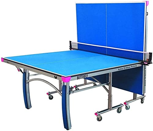 Butterfly Active 19 Deluxe Indoor Ping Pong Table Professional Ping Pong Table Compact Storage Ping Pong Table 10 Minute Easy Assembly Foldable Ping Pong Table, Blue