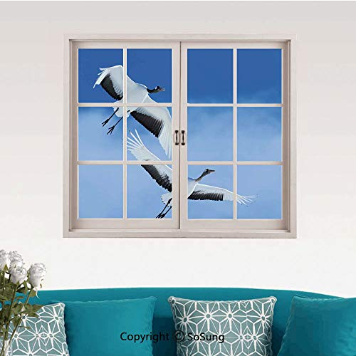 Bird Removable Wall Sticker/Wall Mural,Two Red Crowned Crane with Open Wings Flying in Clear Sky Japanese Animal Duo Creative Close Window View Wall Decor,24